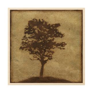 Impresión En Madera Silueta del árbol en el fondo de bronce