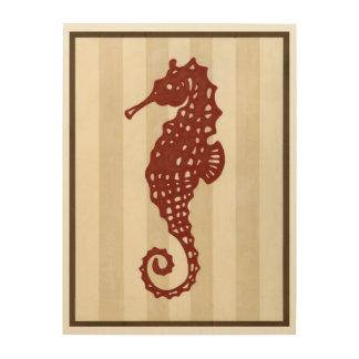 Impresión En Madera Silueta del Seahorse