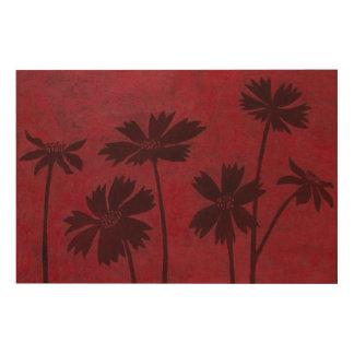 Impresión En Madera Siluetas de Flowerhead en fondo carmesí