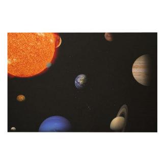 Impresión En Madera Sistema Solar