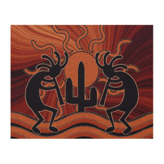 Impresión En Madera Sudoeste rústico de Kokopelli del cactus de Sun