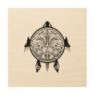 Impresión En Madera Tatuaje tribal del escudo de la tortuga