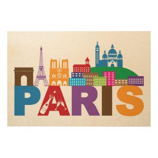Impresión En Madera Tipografía colorida de París, Francia el |