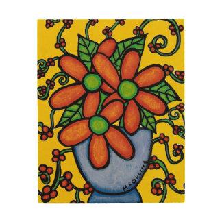 Impresión En Madera Todavía de las flores vida abstracta colorida