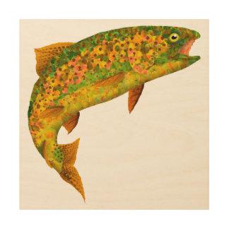 Impresión En Madera Trucha arco iris 2 de la hoja de Aspen