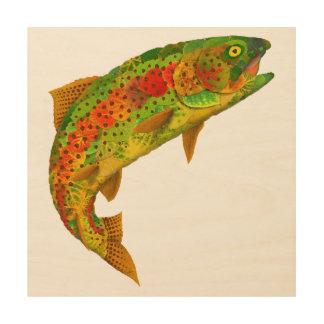 Impresión En Madera Trucha arco iris 5 de la hoja de Aspen