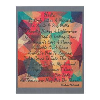 Impresión En Madera Un poema hermoso del hola en el forro de madera