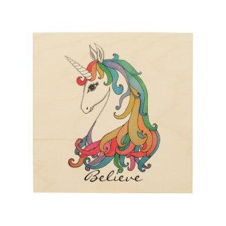 Impresión En Madera Unicornio lindo del arco iris de la acuarela