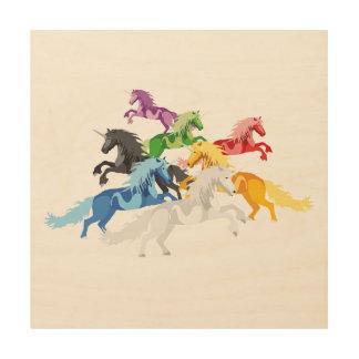 Impresión En Madera Unicornios salvajes coloridos del ejemplo