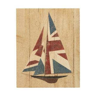 Impresión En Madera Velero británico de la bandera