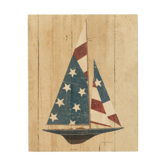 Impresión En Madera Velero con la bandera americana