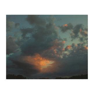 Impresión En Madera Verano septentrional 2016 del cielo y de las nubes