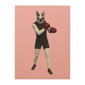 Impresión En Madera Vintage bull terrier retro que encajona el perro