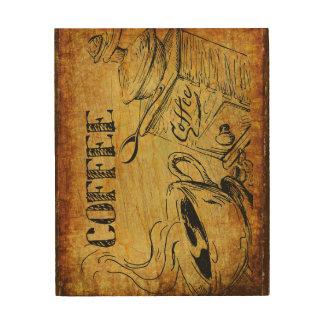 Impresión En Madera Wallart de madera del tiempo del café