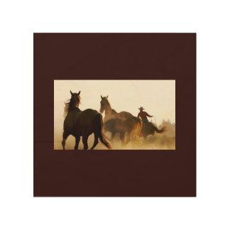 Impresión En Madera wallart roping del vaquero