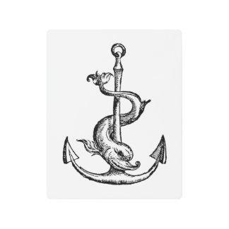 Impresión En Metal Ancla y delfín - Festina Lente
