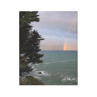 Impresión En Metal Arco iris sobre el océano en la costa de Mendocino