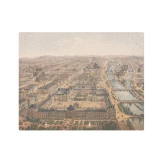 Impresión En Metal Panorama de París el río Sena y Louvre