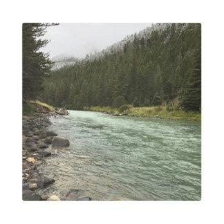 Impresión En Metal Río de la galatina y montañas Nevado en Montana