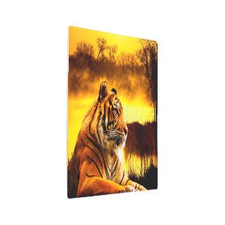 Impresión En Metal Tigre y puesta del sol