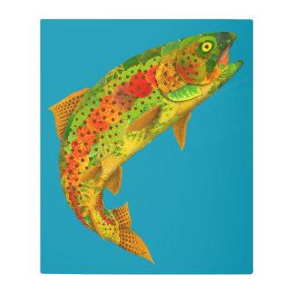 Impresión En Metal Trucha arco iris 5 de la hoja de Aspen