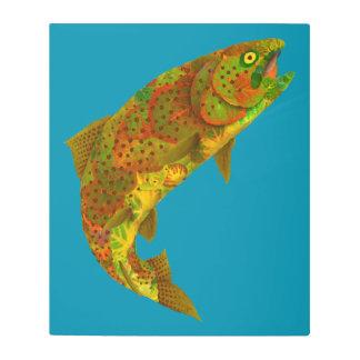 Impresión En Metal Trucha arco iris 6 de la hoja de Aspen