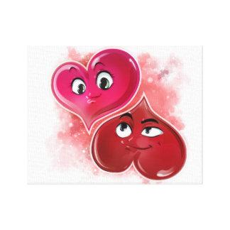 Impresión estirada del corazón del amor de la lona