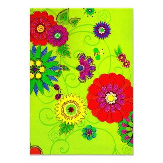 Impresión floral brillante de moda invitación 8,9 x 12,7 cm