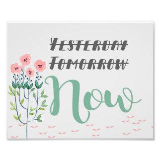 Impresión floral de la cita, cita inspirada foto