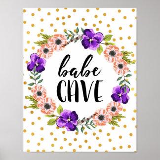 Impresión floral de la cueva del bebé de la