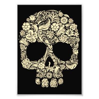 Impresión floral de la foto del cráneo del azúcar