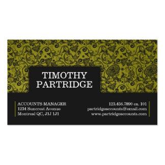 Impresión floral decorativa - amarillo plantillas de tarjeta de negocio