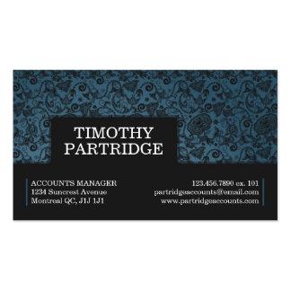 Impresión floral decorativa - azul tarjeta de visita