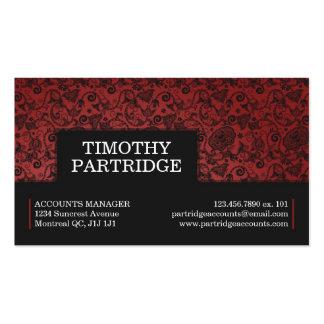 Impresión floral decorativa - rojo tarjetas de visita
