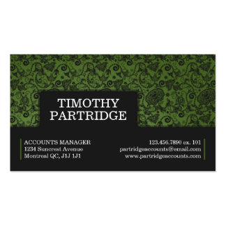 Impresión floral decorativa - verde tarjetas de visita