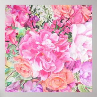 Impresión floral del poster de la acuarela