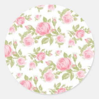 Impresión floral femenina de los rosas del vintage pegatina redonda