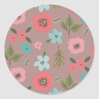 Impresión floral ilustrada mano pegatina redonda