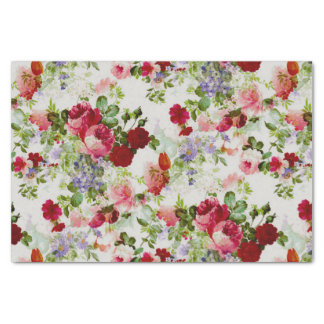 Impresión floral roja y rosada del vintage de moda papel de seda