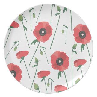 Impresión floreciente del campo de la amapola plato