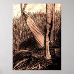 Impresión frecuentada de maderas poster