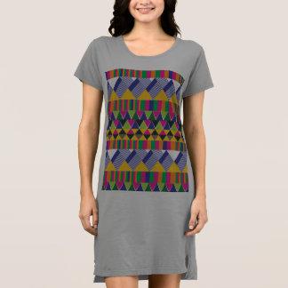 Impresión geométrica azteca multicolora vestido