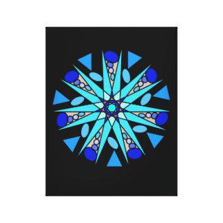 Impresión geométrica cósmica azul negra de la