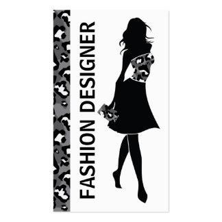 Impresión gris de la pantera del negro del chica plantilla de tarjeta de negocio