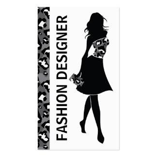 Impresión gris de la pantera del negro del chica tarjetas de visita
