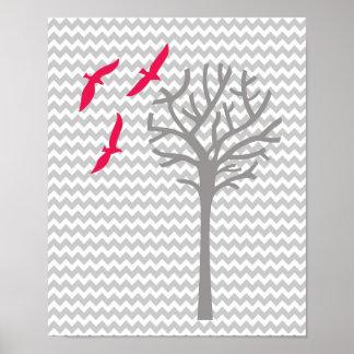Impresión gris rosada del arte del cuarto de niños