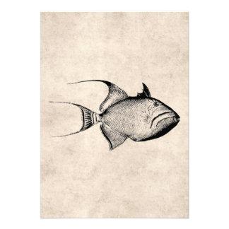 Impresión hawaiana de la antigüedad de los pescado invitación