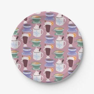Impresión hivernal caliente de las bebidas plato de papel