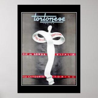 Impresión italiana del poster del anuncio de la mo