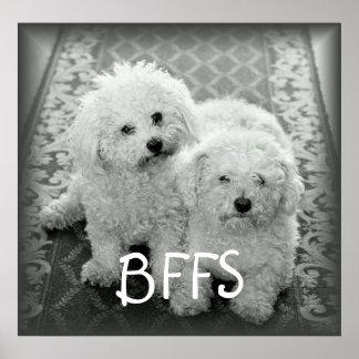 Impresión linda del poster de los perros de BFFS